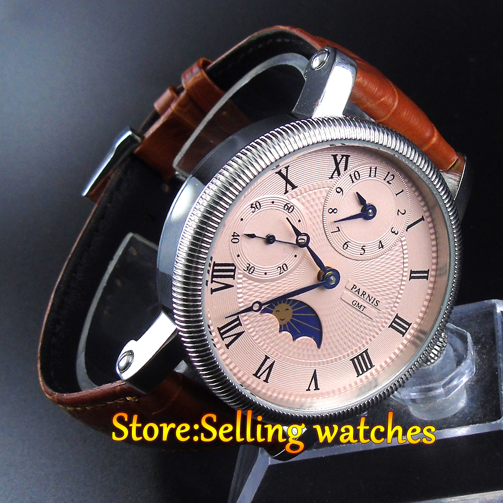 42mm parnis Pink dial GMT Moon Phase hand winding movement mens watch