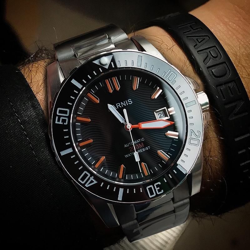 Parnis 44MM Rotating Bezel Automatic Diver Men Watch Waterproof 200m Metal Mechanical Mens Watches Sapphire Glass Man Clock 2019