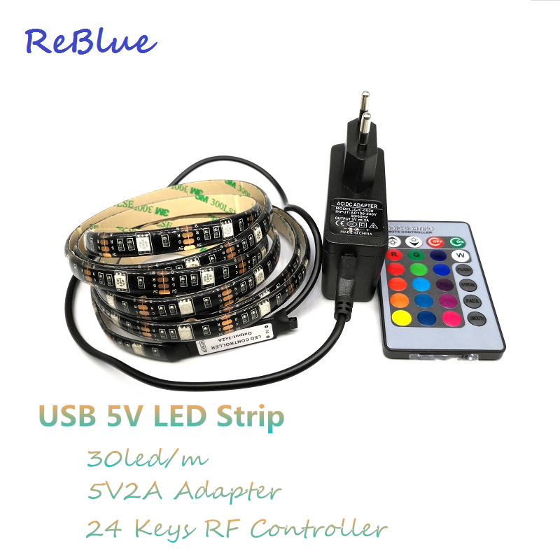 reblue rgb led strip ruban led fita de led backlight tv rgb tape tiras smd 5050 waterproof. Black Bedroom Furniture Sets. Home Design Ideas