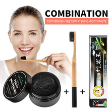 Oral Whitening Nature Activated Charcoal Powder Decontamination Tooth Yellow Stain Bamboo Toothbrush Toothpaste Oral Teeth Care