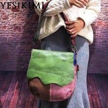 Новинка, винтажная Женская седельная сумка из натуральной кожи, разноцветная сумка-мессенджер, 34*35 см