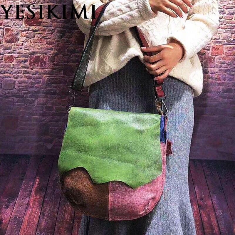 2019 새로운 빈티지 정품 가죽 여성 안장 가방 무작위 패치 워크 다채로운 메신저 가방 34*35 cm-에서탑 핸드백부터 수화물 & 가방 의  그룹 1
