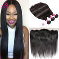 Malaysian Straight Bundles With Frontal Closure Unprocessed Virgin Brazilian Bundles With Frontal Spring Queen Hair Frontal