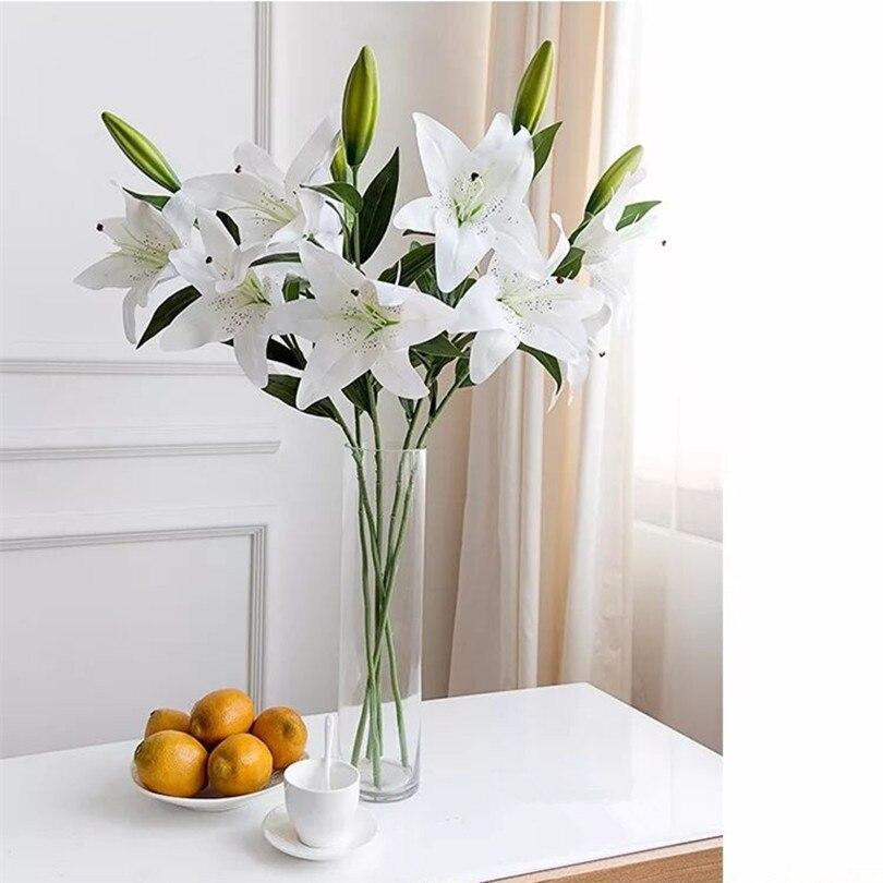 4ks Real Touch Lily Umělá simulace Lilie PU lilie květiny 3 hlavy / kus 4 barvy pro svatební dekorace Xmas Home