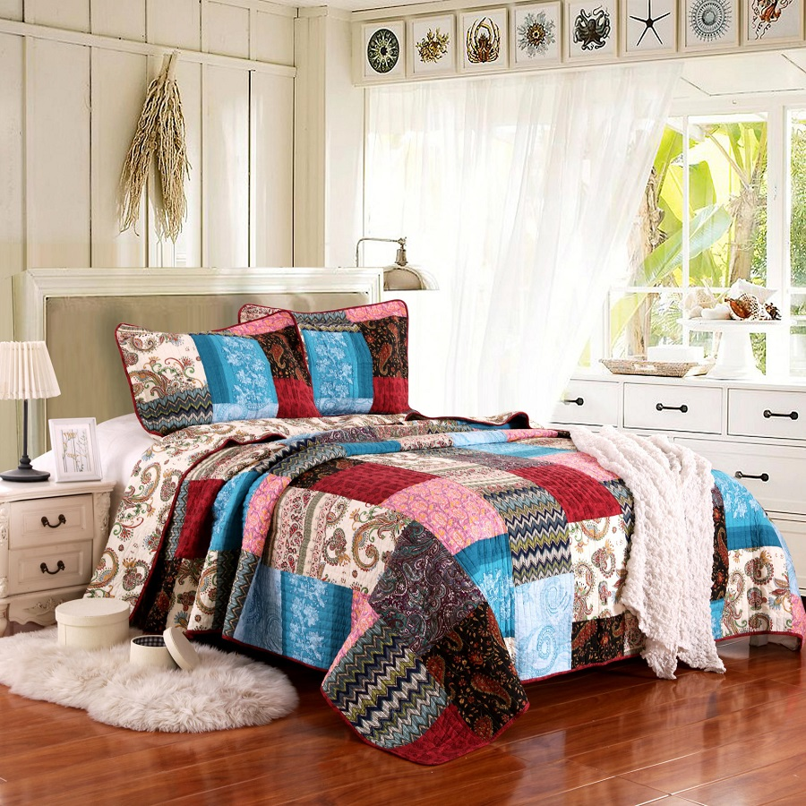 CHAUSUB Vintage Handmade Patchwork Quilt Set 3PC Washed Cotton Quilts Quilted Bedspread for Bed Covers Pillow