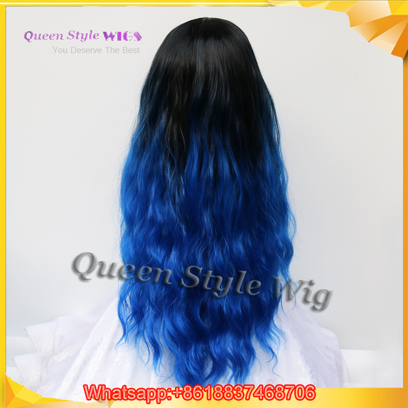Hot Euro Beauty Black Ombre Blue Color Hair Wig Synthetic Long Curly