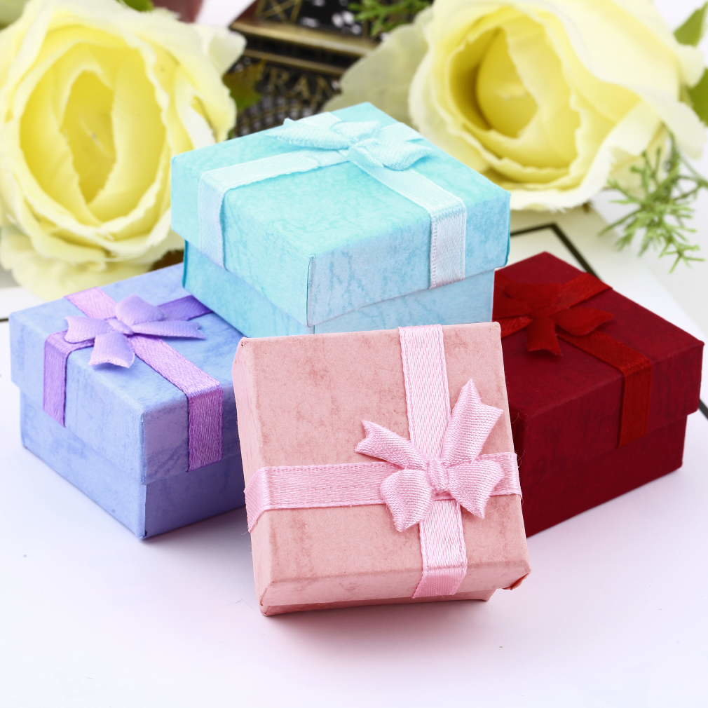 1 Pc Earring Ring Small Package Box Necklace Ring Jewelry Gift Display Box Cardboard Makeup Organizer Small Ring Pendant Bow Box