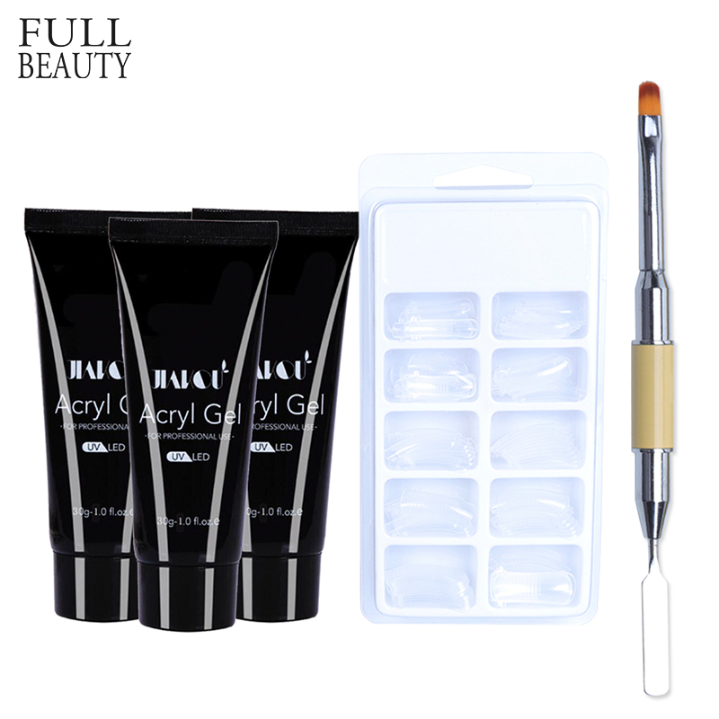 Full Beauty 30g Soak Off Poly Gel Finger Extension Camouflage Nail Art UV Gel Jelly Builder Kits French False Nails Glue CH081