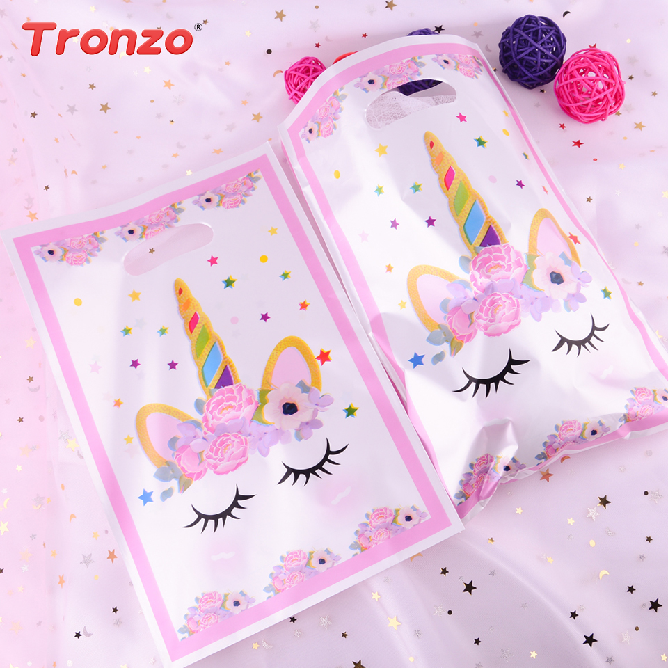 Tronzo Unicorn Party Bags For Kids Birthday Decoration Unicorn Flamingo Gift Bags Plastic Wedding Party Gift Bag With Handles(China)
