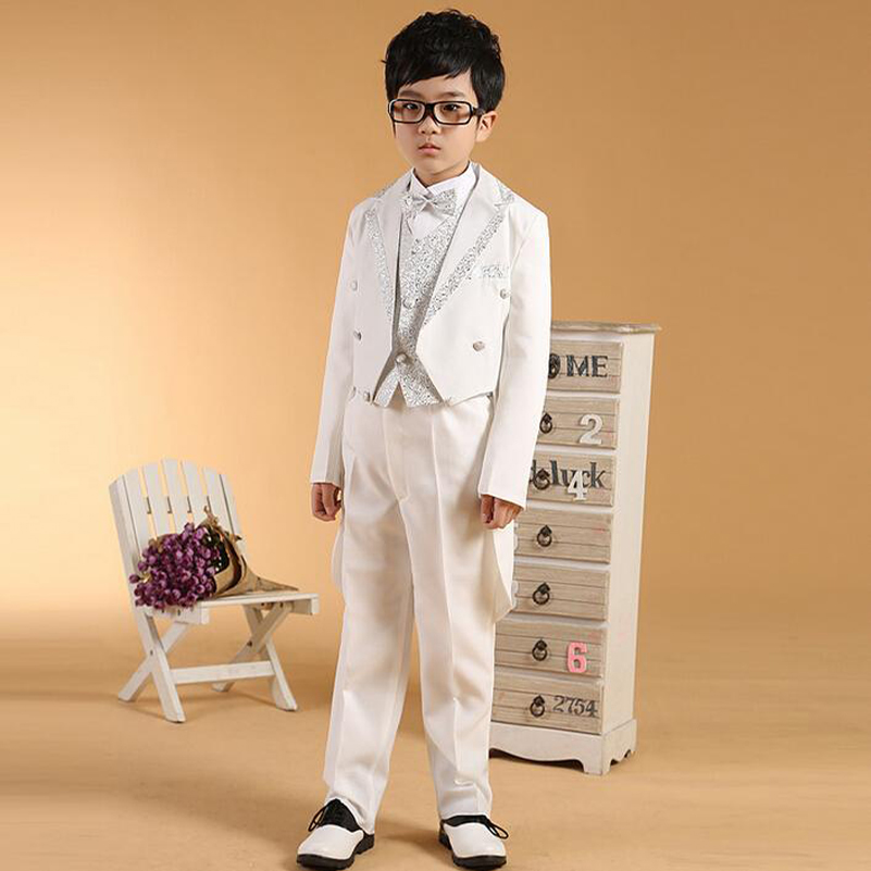 2017 white sequins tailcoat boys wedding suits prince baby boy suits for wedding toddler tuxedos