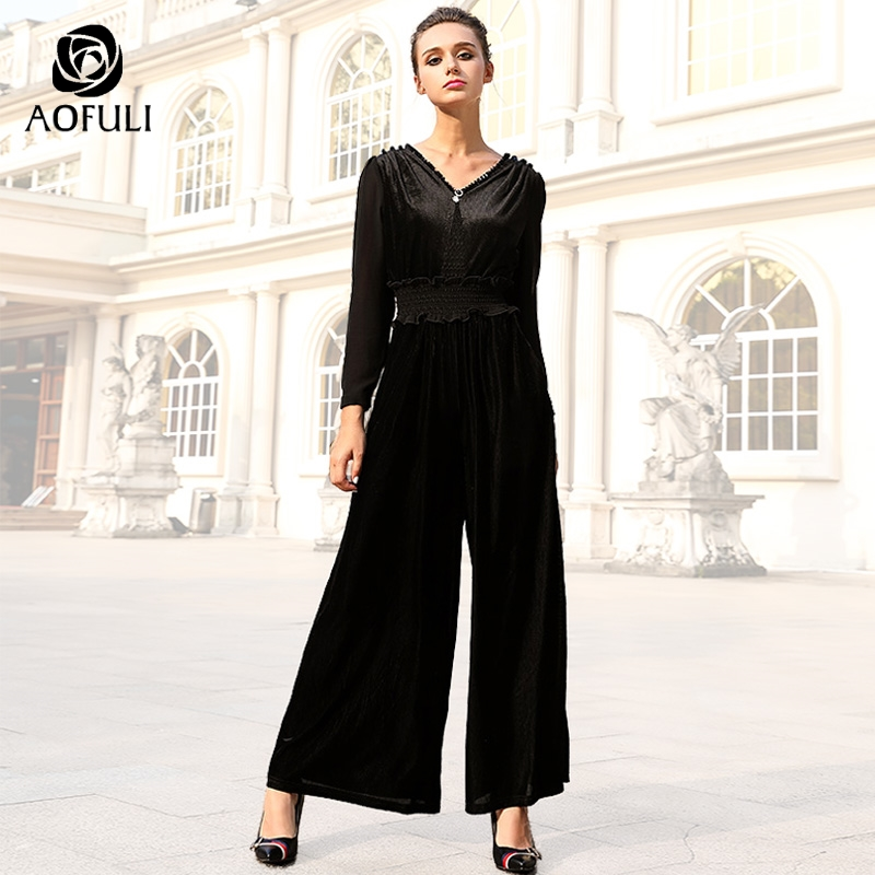 AOFULI M 4XL 5XL women striped corduroy jumpsuit long sleeve v neck wide leg pants with