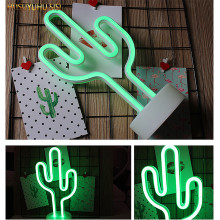 HUSUYUHU SISI Cactus Decoration Neon Night Light Bedroom Room Layout Romantic Lantern