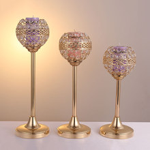 2019 Gold Crystal Tealight Candle Holders hollow Candelabra cup Candlesticks Stand for Wedding Table Centerpieces Home Decor
