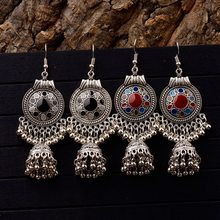 TopHanqi Gypsy Jewelry Retro Ethnic Silver Indian Jhumka Small Bells Oil Drop Tassel Earrings for Women Bohemian Pendiente Gift