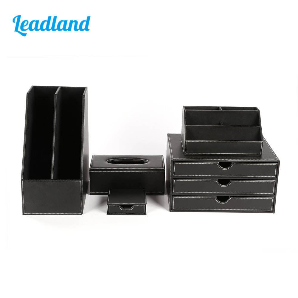 Office Desk 5-piece Set Pen Pencil Holder business card stand Stationery Organizer Box Tissue Dispenser T08 Black/Brown best promotion four pockets clear desktop office counter acrylic business card holder stand display fit for office school
