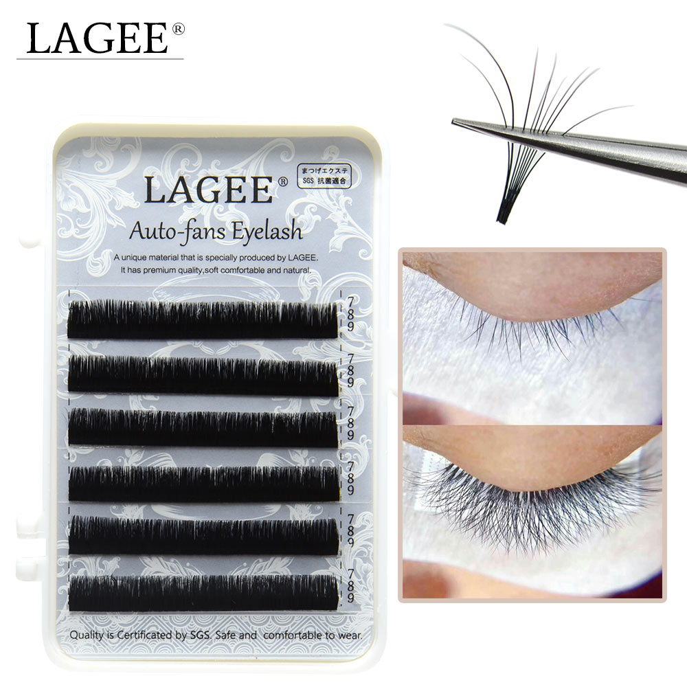 LAGEE Eyelash Extensions Auto Fans False Eyelash Easy Fan Lash 0.05mm Mixed Length Faux Mink Eyelash Russian Volume Fans Eyelash