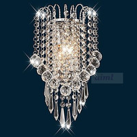 Wall Lights 2 Light,Simple transparent k9 crystal Artistic Stainless Steel Plating 110 240v