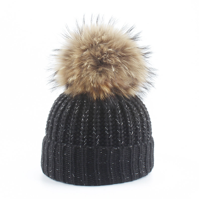 2019 New Pompon Winter Thick Knitted Hats For Children Kids Fur Pompom Beanie Hat Boys Girls Cotton Skullies(China)