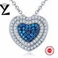 2016 novo coração criado safira colar de prata esterlina 925 colar de prata mulheres cz diamante charme para as mulheres da moda jóias