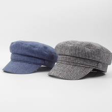 Women Military Hat Cap Navy-Cap Flat-Top British-Style And Cotton Linen NZ076 Fall Solid-Color