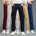 2017 Spring Summer Autumn Mens 100% Cotton Slim Fit Trousers Skinny Men Casual Pants Solid Color Black Blue Khaki Red Grey Green