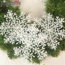 JOY-ENLIFE 30pcs White Plastic Fake Snowflake Christmas Party Hanging Pendants New Year Xmas Tree Ornaments Window Decoration
