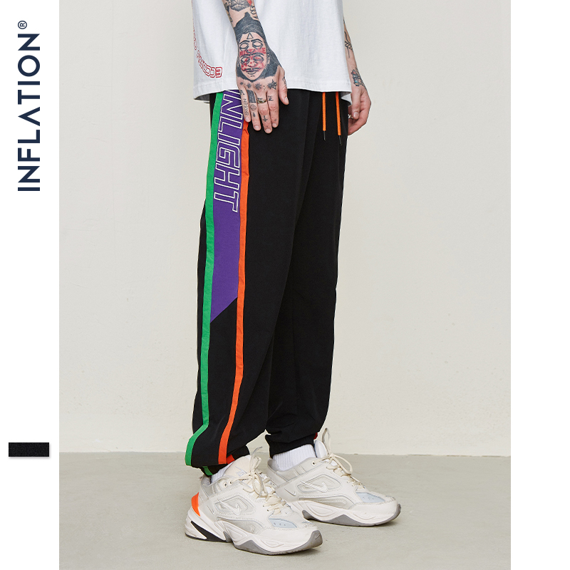 INFLATION Colour Block Tracksuit Elastic Waist Male Pants Gym Joggers Sweatpants Drawstring Streetwear Hip Hop Pants 9327S