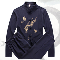 Loldeal Dragon Shirt Men Long Sleeve Cotton Shirt Mandarin Collar Chinese Traditional Mandarin Collar Kung Fu Suit Chinese Suit