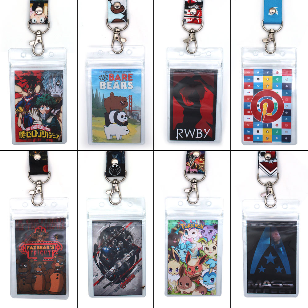 My Hero Academia/RWBY/We Bare Bears/Marvel Avengers Phone Rope Strap Lanyard Keychain+ID Credit Card Protector Case Cover Sleeve