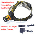 Waterproof LED Head Light Headlamp 2 LEDs LED Headlight Blue/Yellow Fishing Flashlight Torch Head Lamp + Charger