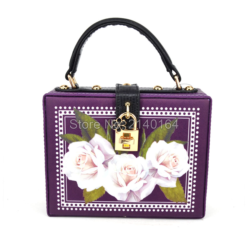 ФОТО Original Fashion Purple Suitcase locks Box Trunk Flap Women Handbags with strap Ladies Mini Tote Shouler Bag Crossbody bag Z8301