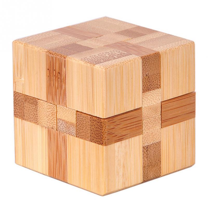 1 шт. бамбуковый развивающий замок 3D игрушка ручной работы для взрослых головоломка игра - Цвет: cube