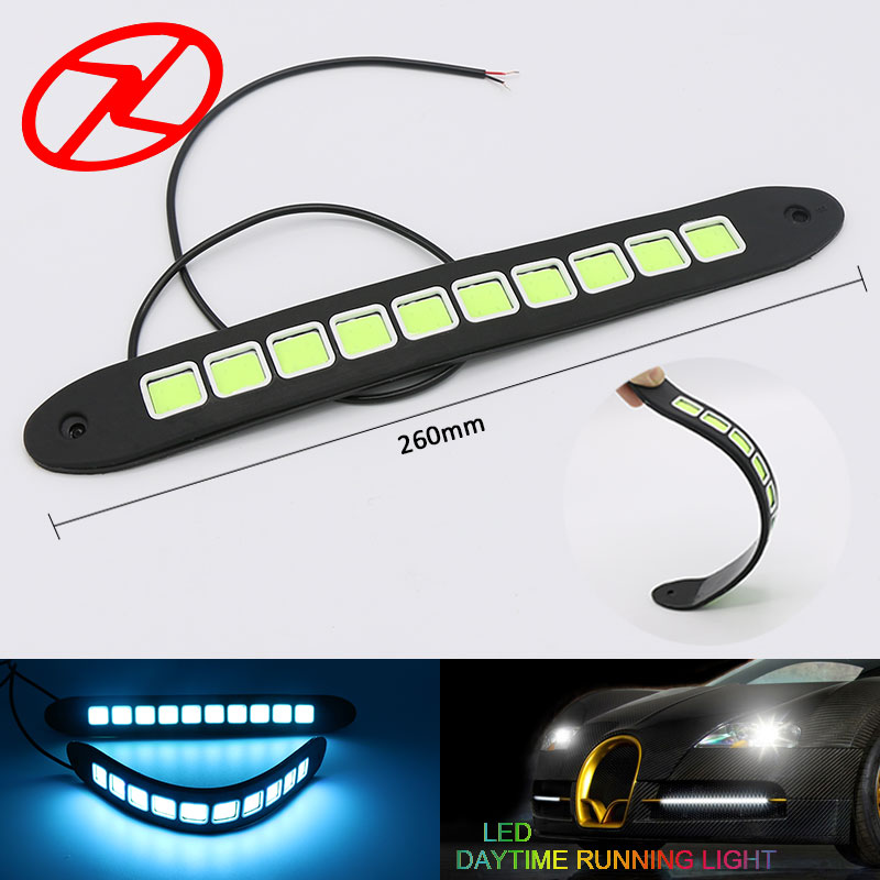 2PCS Flexible Universal Cars Driving Fog Light LED DRL Daytime Running Light Waterproof COB Day Light DC 12 V Ice Blue