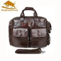 100% Genuine Leather Briefcases Vintage Men Shoulder Bag Cowhide Leather Travel Messenger Bag Many Pockets Man Laptop Bag