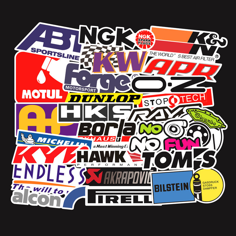 103PCS Racing Car Stickers Waterproof Sticker DIY Motocross Racing Helmet Skateboard Bicycle Laptop PVC JDM Luggage