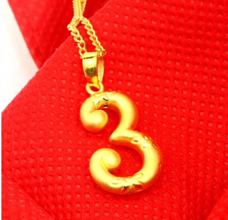 New authentic 24k yellow gold pendant 3d craft lucky number 3 new authentic 24k yellow gold pendant 3d craft lucky number 3 pendant 169g in pendants from jewelry accessories on aliexpress alibaba group mozeypictures Images
