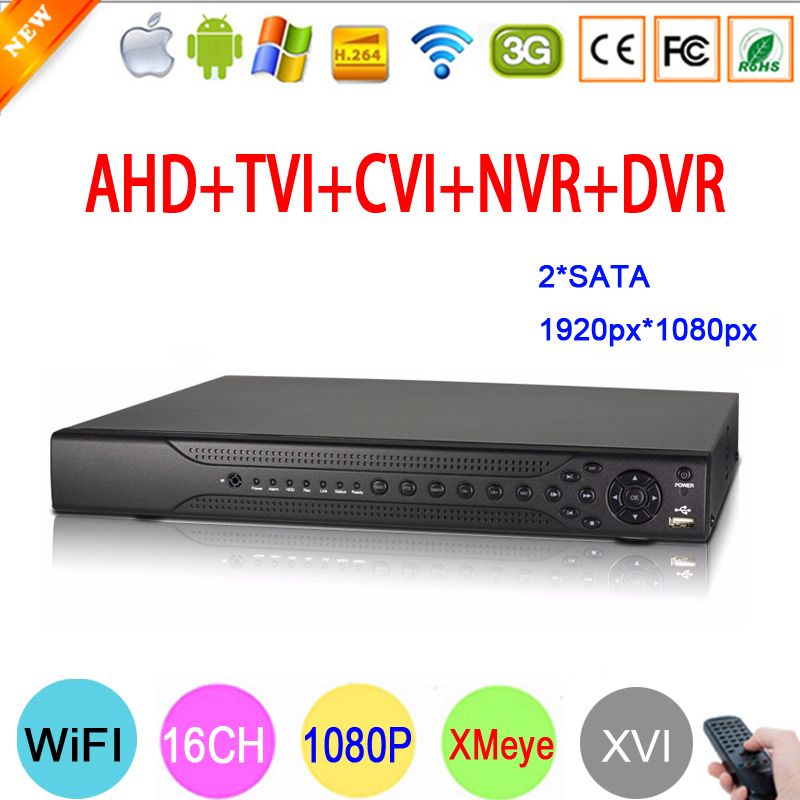 Hi3531A 16CH Due SATA Coassiale Hybrid 1080 P Full HD 2MP Surveillance Video Recorder 6 in 1 NVR TVI CVI AHD CCTV DVR di Trasporto Libero