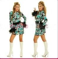 de1af6a28fe18 Plus Size 4XL Halloween Retro Costume 60s 70s Retro Hippie Girl Disco  Dancing Costume Fancy Dress
