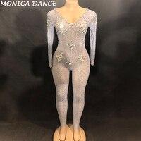 Women Sexy Stage Net Yarn Jumpsuit Big Glass Sparkling Crystals Bodysuit Nightclub Party Stage Wear Dancer Singer Bling Jumpsuit