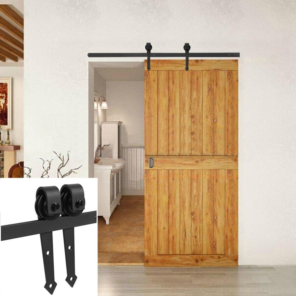 Ensemble de placard de matériel de porte moderne peu encombrant de 6 pieds, piste coulissante de Style Antique, Kit de rail de placard en fer, rouleau en bois de dérivation - 4