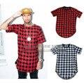 2016 фитнес-одежды мужские рубашки молния майка мужчин расширенный добычу хип-хоп свободного покроя хлопок клетчатые рубашки уличная лучших мужская лето