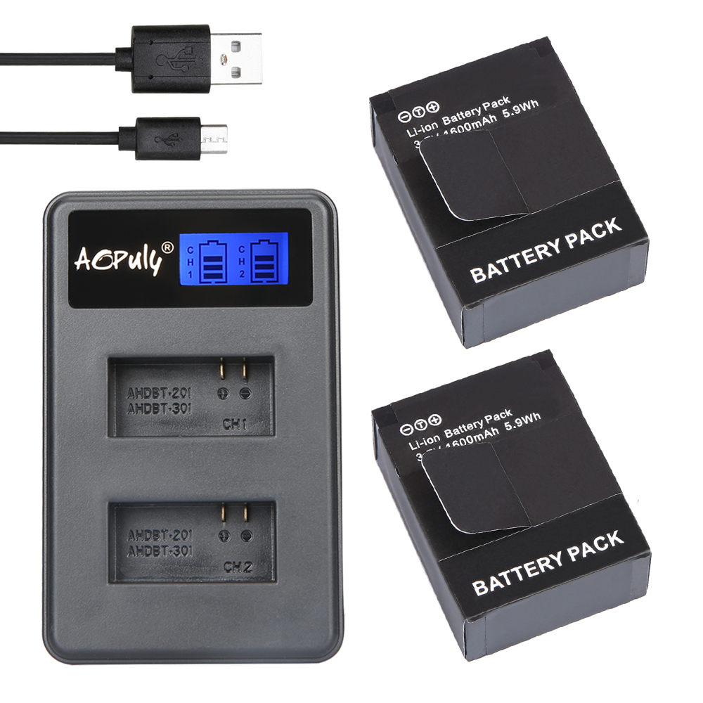AOPULY 2Pcs ADHBT-301 AHDBT-302 Battery + LCD USB Dual Charger for GoPro Hero3/HERO3+Camera GoPro3 Battery AHDBT 301 AHDBT 302