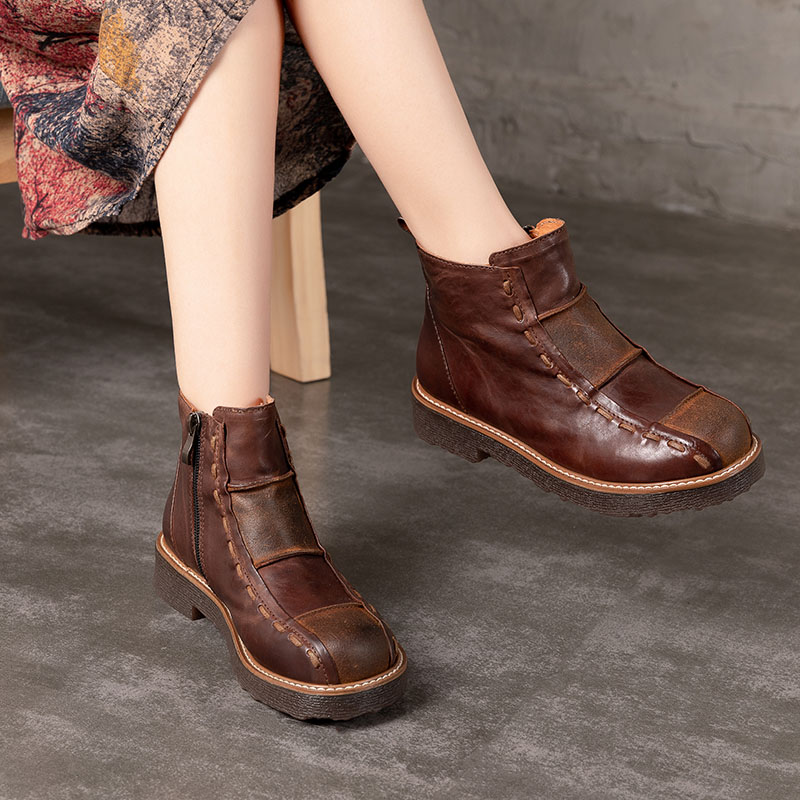 HUIZUMEI Stylish Casual Shoes 2018 Winter Ankle Winter Shoes Woman Boots Hand-made Retro Female Round Toe Women Leather BootsHUIZUMEI Stylish Casual Shoes 2018 Winter Ankle Winter Shoes Woman Boots Hand-made Retro Female Round Toe Women Leather Boots