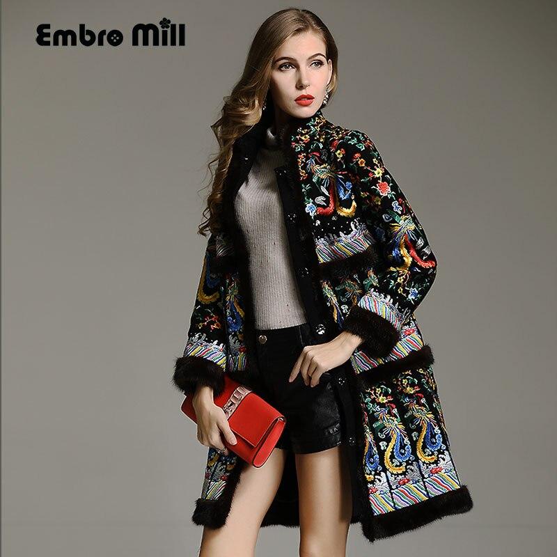 Haut de gamme hiver tranchée manteaux femmes vintage Élégant Floral de laine broderie lâche dame De Noël Vison cheveux pardessus femelle M-XXL