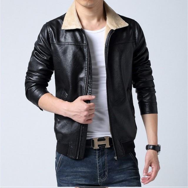 Winter Thick Men Jacket Fashion 2017 New Turn Down Collar Faux Leather Mens Coat Slim Fit Warm Windbreaker Mens Clothing BigSize