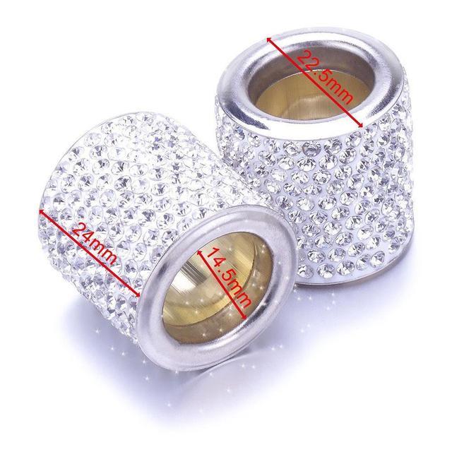 2Pcs Car Seat Crystal Headrest Decor Ring Collars Girls Rhinestone Diamond Bling For Women Rhinestone Car Interior Accessories