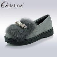 Odetina Suede Fur Loafers Women Large Size Boat Shoes Ladies Slip On Shoes Platform Cute Flat