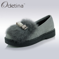 Odetina Suede Fur Loafers Women Large Size Boat Shoes Ladies Slip On Shoes Platform Cute Flat