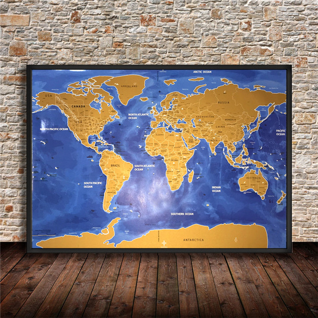 Deluxe scratch gold blue vintage world map retro wall art sign deluxe scratch gold blue vintage world map retro wall art sign crafts sticker paint old ancient gumiabroncs Gallery