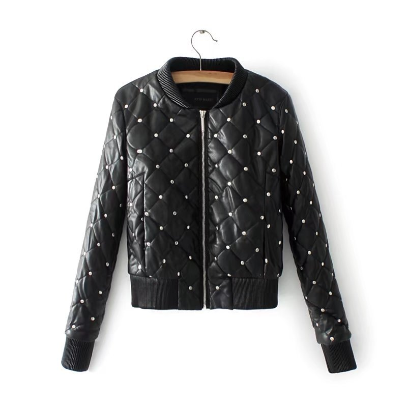 Rivetto Dell'unità Nera Parka Alta Donne Outwear Elaborazione Giacca Di 2018 Delle Bomber Modo Qualità Inverno Nuovo nw1f4qnY